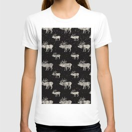 Moose in Winter Snow on Black -Wild Animals-Mix and Match with Simplicity of Life T-shirt