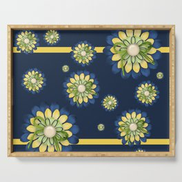 Blue and yellow Flowers Serving Tray