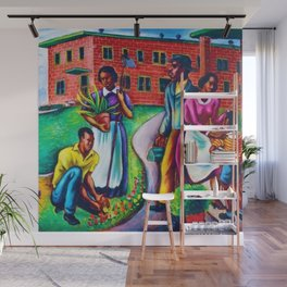"""African American Classical Masterpiece """"The Results of Good Housing"""" by Hale Woodruff Wall Mural"""
