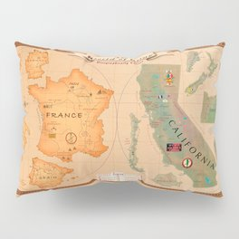 World of Wine Map Pillow Sham