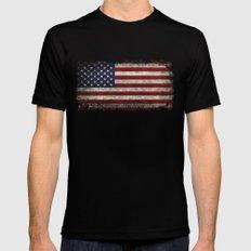 American Flag, Old Glory in dark worn grunge MEDIUM Black Mens Fitted Tee