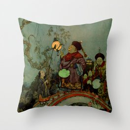 """""""In Search of a Nightingale"""" by Edmund Dulac Throw Pillow"""