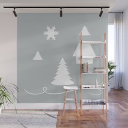 Winter Blues Collage Wall Mural