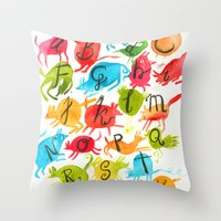 alphabet Throw Pillows featuring Alphabet by zuzia turek