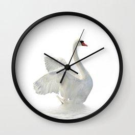 WHITE ON WHITE-BEAUTIFUL SWAN Wall Clock