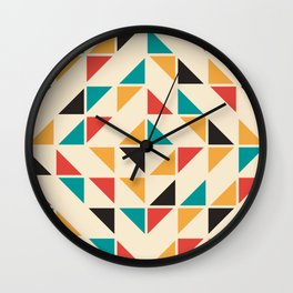 Triangles Mid Century Pattern Wall Clock