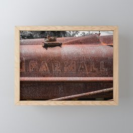 Rusted Farmall Red Tractor Caroded Rusty Side Panel Framed Mini Art Print