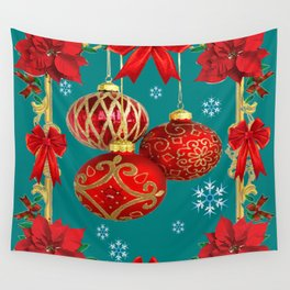 TEAL COLOR RED CHRISTMAS  ORNAMENTS &  POINSETTIAS FLOWER Wall Tapestry