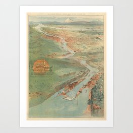 Vintage Pictorial Map of Portland OR (1896) Art Print