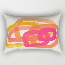 Funky Retro 70' Style Pattern Orange Pink Greindent Striped Circles Mid Century Colorful Pop Art Rectangular Pillow