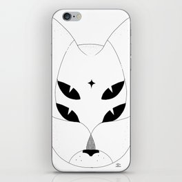 T-shirt with mystic 4-eyes angry cat. Ocult style. Minimal iPhone Skin