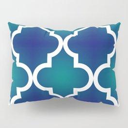 Quatrefoil - Teal and Blue Ombre Pillow Sham