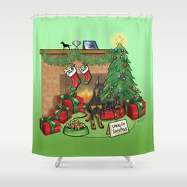 Manchester Terrier Christmas Shower Curtain
