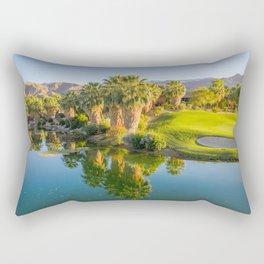 Palm Springs Aerial drone shot golf course big horn course desert sunset palm trees lake  Rectangular Pillow