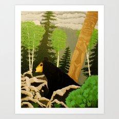 Bear in lava Art Print