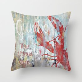 New Orleans Seafood Restaurant Sign Throw Pillow