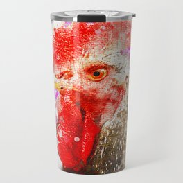Rooster Watercolor, Painted Roost Art, Cool Chicken, Splatter Rooster Design, Rooster Decor Travel Mug
