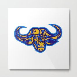 Cape Buffalo Head Retro Metal Print