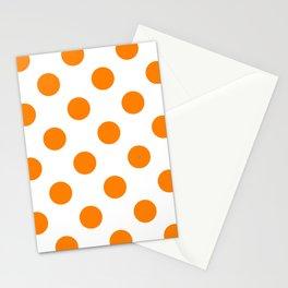 Large Polka Dots - Orange on White Stationery Cards