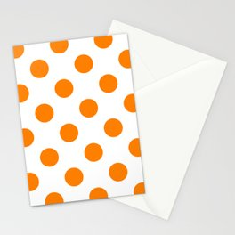 Large Polka Dots - Orange on White Stationery Cards