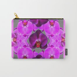 Dark Purple Moth  Orchids & Pink Orchids Art Carry-All Pouch