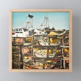Crab Pot Photograph, Ilwaco Washington Harbor, Northwest Fisherman Boat Photo, Crabber, Seafood Framed Mini Art Print