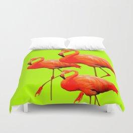 Decorative Tropical Flamingos Chartreuse Color Art. Duvet Cover