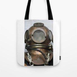 Antique vintage metal underwater diving helmet Tote Bag