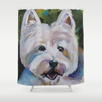 westie Shower Curtains featuring Westie Impressionism Pet Portrait Larsen 1 by Karren Garces Pet Art