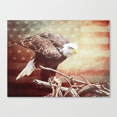 Eagle US American Flag ~ Faded Distressed Canvas Print