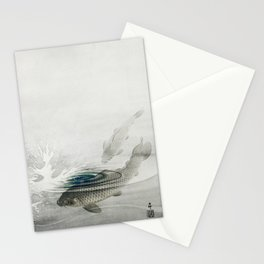 Two Kois In Lake Vintage Illustration Stationery Cards