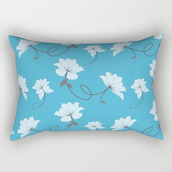 White Flowers on Blue background, floral pattern Rectangular Pillow