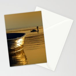 Rowing boat and swan sunset reflections Stationery Cards