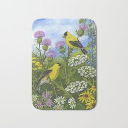 Goldfinches and Thistle Bath Mat