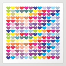 Colorful Hearts Art Print