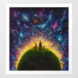 The little Prince original Painting illustration on canvas by Valery Rybakow Art Print