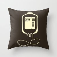 coffee Throw Pillows featuring Coffee Transfusion by Tobe Fonseca