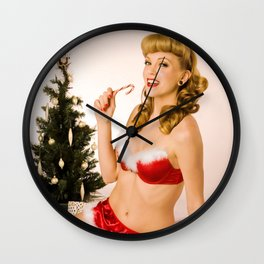 """What Should We Unwrap First?"" - he Playful Pinup - Christmas Pinup Girl by Maxwell H. Johnson Wall Clock"