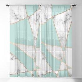 Marble Geometry 055 Sheer Curtain