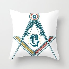 Square and Compass - freemasonry Throw Pillow