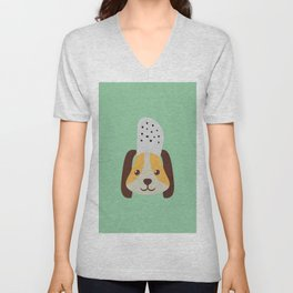 cute doggo with croc on the head - green Unisex V-Neck