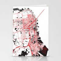 san francisco map Stationery Cards featuring San Francisco Noise Map by ARTITECTURE