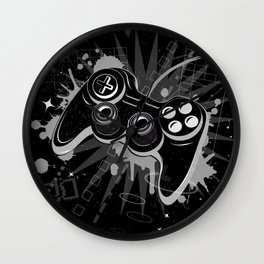Gamepad Graffiti Grunge Wall Clock
