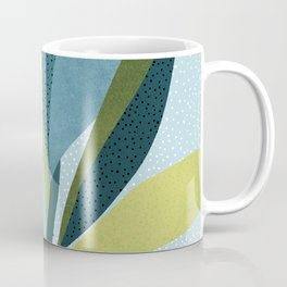 In The Shadows / Abstract Maximal Flora in French Blue and Olive Coffee Mug