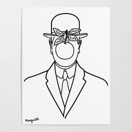 The Son Of Man 1946 Sketch by Rene Magritte Inspired Design, Artwork for Tshirts, Prints, Posters, B Poster