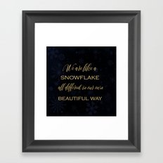 We are like a snowflake - gold glitter Typography on dark backround Framed Art Print
