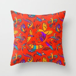 Pattern with Firebirds (on red background) Throw Pillow