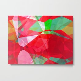 Mixed color Poinsettias 3 Abstract Polygons 2 Metal Print