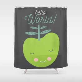 hello world green apple illustration Shower Curtain