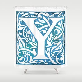 Letter Y Elegant Vintage Floral Letterpress Monogram Shower Curtain